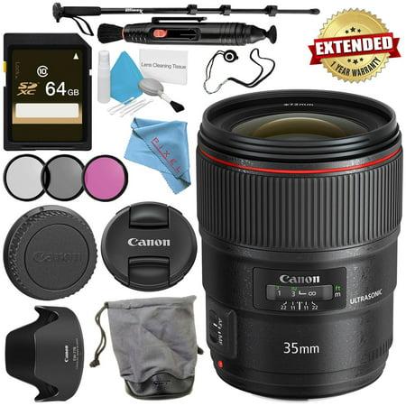 Canon EF 35mm f/1.4L II USM Lens + 72mm 3 Piece Filter Kit + 64GB SDXC Card + Lens Pen Cleaner + Fibercloth + Lens Capkeeper + Deluxe 70