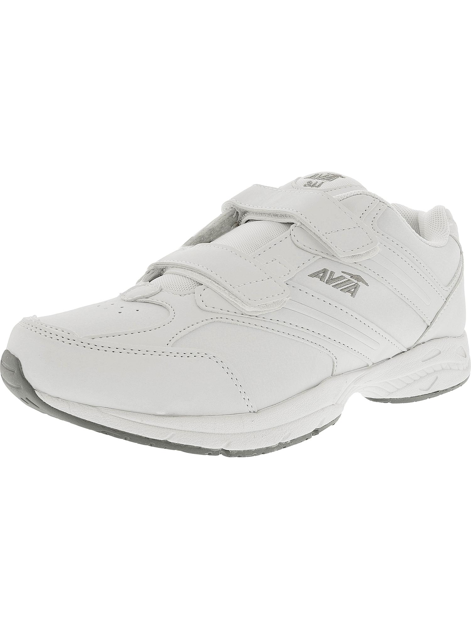 Avia Men's Union Slip Resistant White / Chrome Silver Lemon Yellow Ankle-High Leather Walking Shoe - 10.5M
