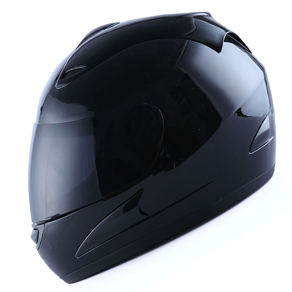 Motorcycle Full Face Helmet Adult Glossy Black Color + One Extra Clear Shield as Bonus