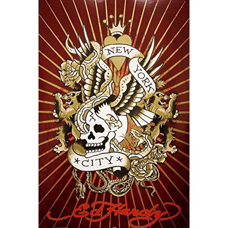 Ed Hardy New York City Skull 36x24 Tattoo Art Print Poster Roses Snakes Hidden Images