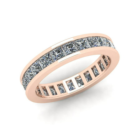 Natural 2.70Ct Princess Cut Diamond Classic Channel Set Women's Anniversary Wedding Eternity Band Ring Solid 18k Rose Gold F (Princess Cut Diamond Ring Guard)