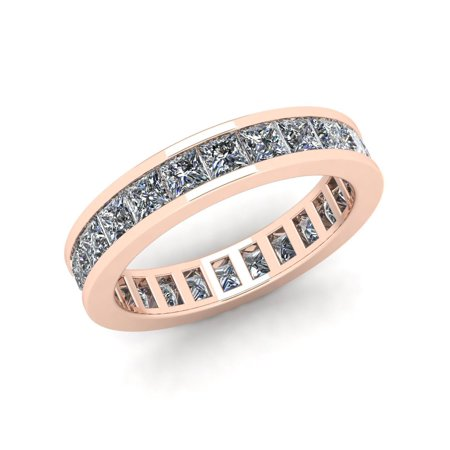 Natural 2.70Ct Princess Cut Diamond Classic Channel Set Women's Anniversary Wedding Eternity Band Ring Solid 18k Rose Gold F VS2