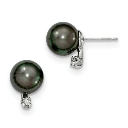 14k WG 9-10mm Round Saltwater Cultured Tahitian Pearl .10ct Dia. Post Earri -