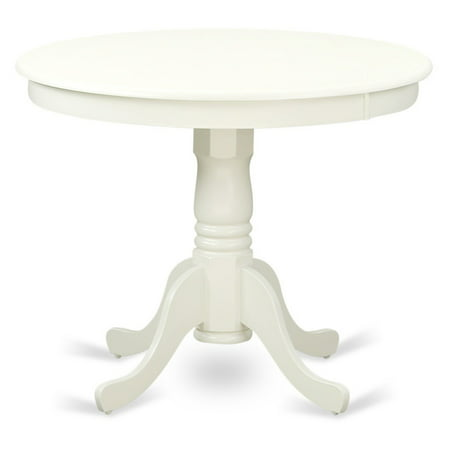 East West Furniture Linen White Round Antique Dining Table
