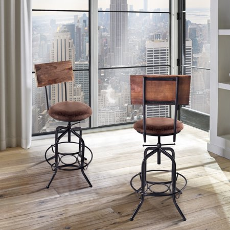 Armen Living Damian Adjustable Barstool, Industrial Finish with Fabric Seat