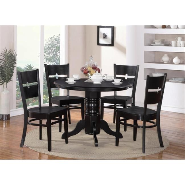 East West Furniture SHRO5-BLK-W 5 Piece Shelton Round Table and 4 Groton Chairs