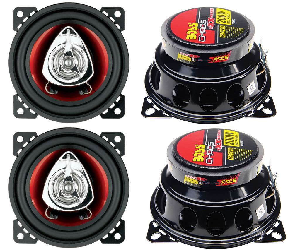"""4 New BOSS CH4620 4x6/"""" 400W 2-Way Car Audio Coaxial Speakers Stereo Red"""