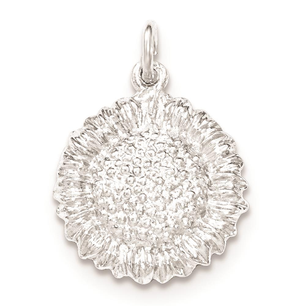 925 Sterling Silver Polished & Textured Small Sunflower Open-back Charm Pendant