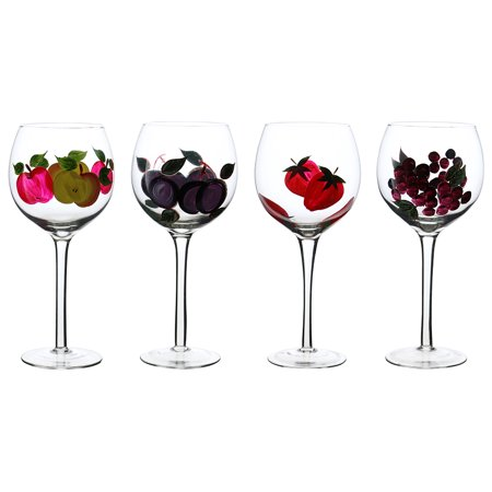 Hand Painted Original Large 16oz Wine Goblets Fine Glassware Gift Set of 4 Pieces