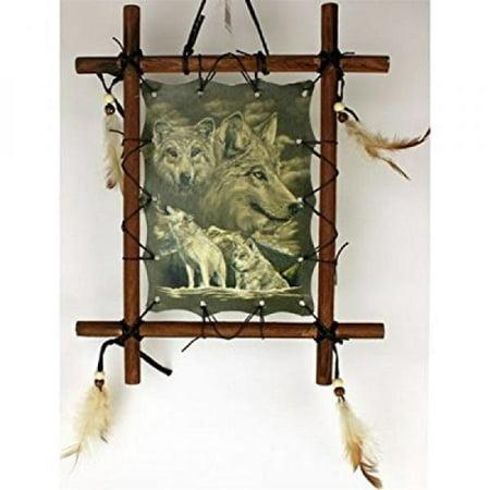 OBI 1 X Framed Indian WOLVES Picture 9 x 11inch (including frame)- WOLF Wildlife Art - (Cleveland Indians Art Glass Frame)