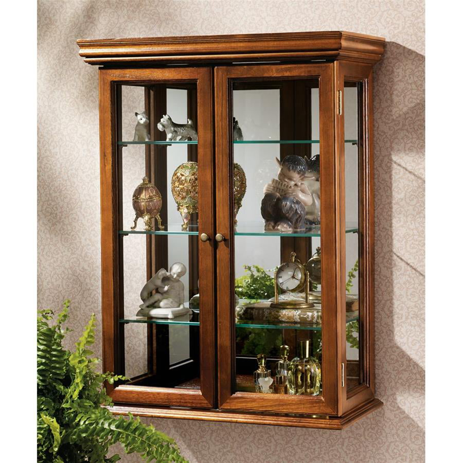 Three Hands Wood /& Glass Curio Cabinet Table or Wall Display 8