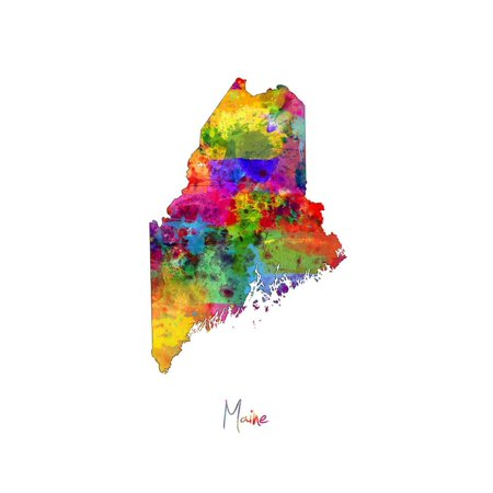 Maine Map Print Wall Art By Michael Tompsett (A Map Of Maine With Towns And Cities)