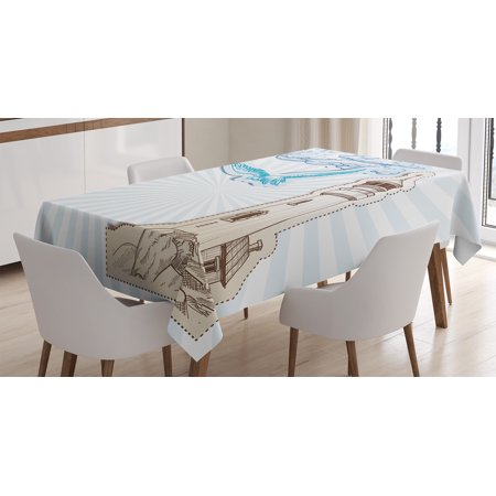 Seagulls Decor Tablecloth, Scrapbook Cut and Pasted Nautical Sketches of Seagull Clouds Nautical, Rectangular Table Cover for Dining Room Kitchen, 60 X 84 Inches, Brown Cream Blue, by Ambesonne - Scrapbook Table