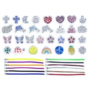 Easy Bracelet Making Kit with 30 Slide Charms & 12 Adjustable PVC Bracelets - Beginners Jewelry Making Supplies - Arts and Crafts for Adults and Kids - Easter Basket Stuffer for Girls