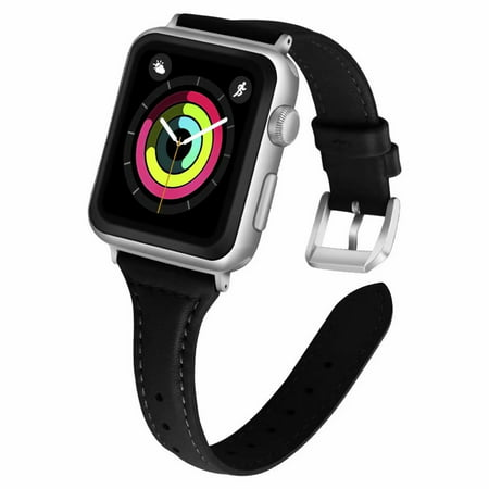 iGK Leather Bands Compatible with Apple Watch Band 38mm 40mm 42mm 44mm,Slim Leather Strap Replacement Bands with Stainless Steel Buckle for iWatch Apple Watch Series 4 3 2 1 Leather Watch Strap Plated Buckle