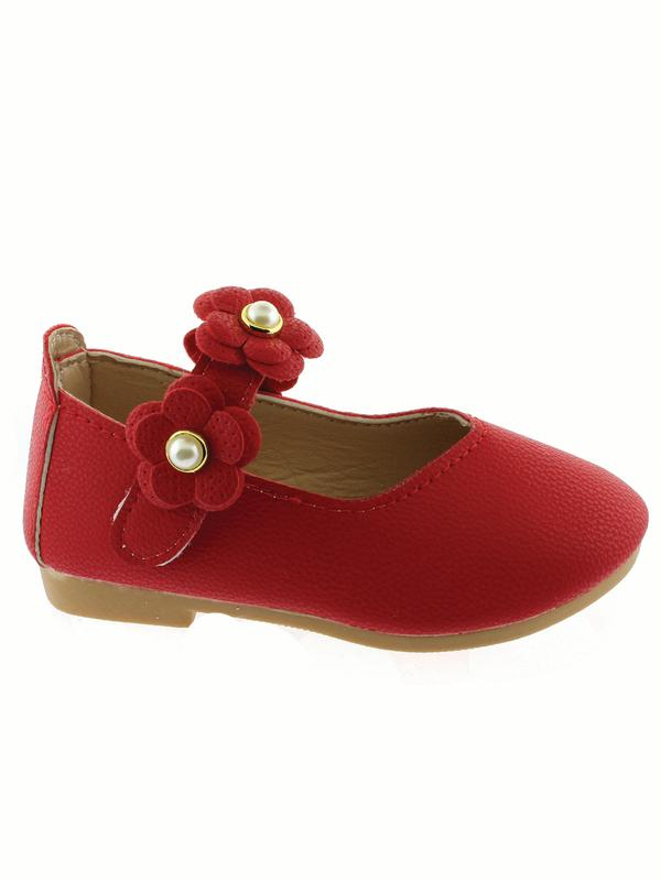 Kate Little Girls Red Flower Pearl Strap Mary Jane Shoes
