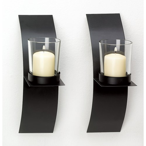 Gifts & Decor Modern Art Candle Holder Wall Sconce Plaque, Set of 2 by Gifts & Decor