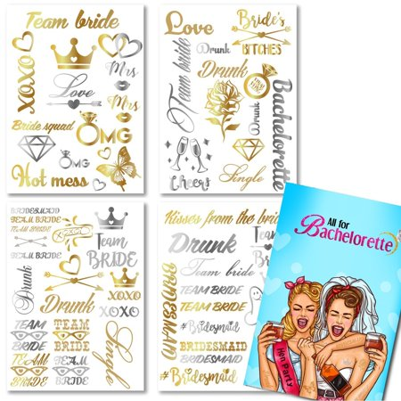 All For Bachelorette Party Bride and Bride Tribe Temporary Tattoos - Bachelorette Temporary Tattoos