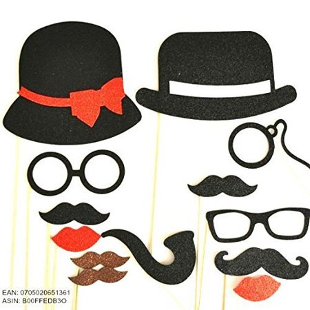 13 Pc Photo Booth Party Props Mustache on a Stick Bowler Hat Ladies Hat Mustaches Glasses so Cute Material Glitter Foamy - Photo On A Stick