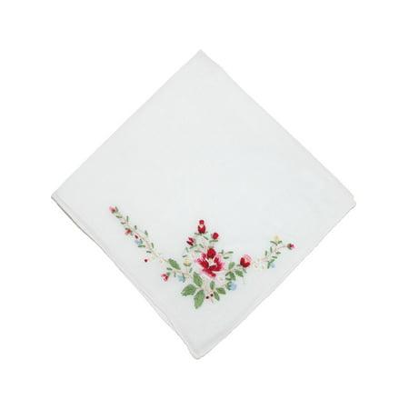 Women's Cotton Floral Embroidered Handkerchief - Red Handkerchief