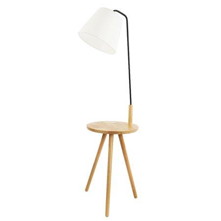 - Kshioe Tripod Wood Tray Floor Lamp with Cotton Shade