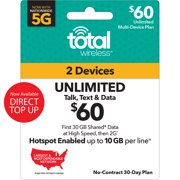 Total Wireless $60 Unlimited Family 30-Day 2 Lines Prepaid Plan (30GB Shared Data at High Speeds, then 2G) + 10GB of Mobile Hotspot per line Direct Top Up