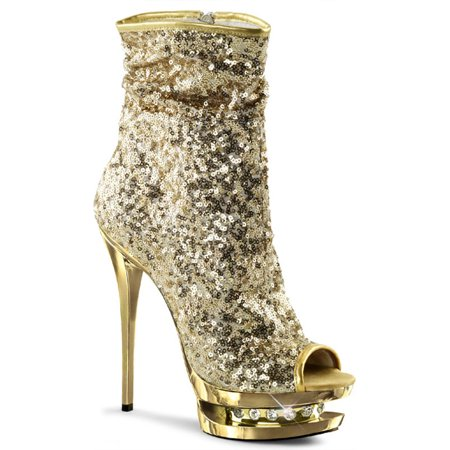 Womens Mid Calf Boots Gold Sequin Shoes Ankle Booties Open Toe 6 Inch Heels for $<!---->