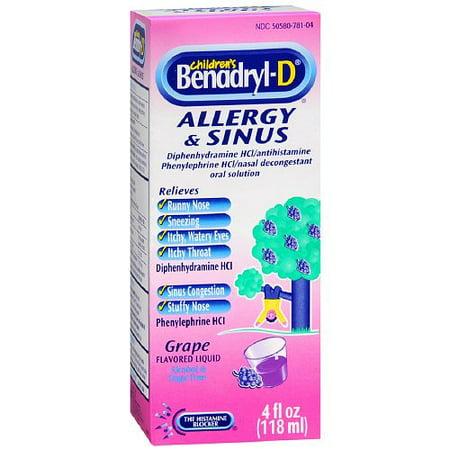 Childrens Benadryl-D Allergy And Sinus Liquid, Grape - 4 Oz, 3 Pack