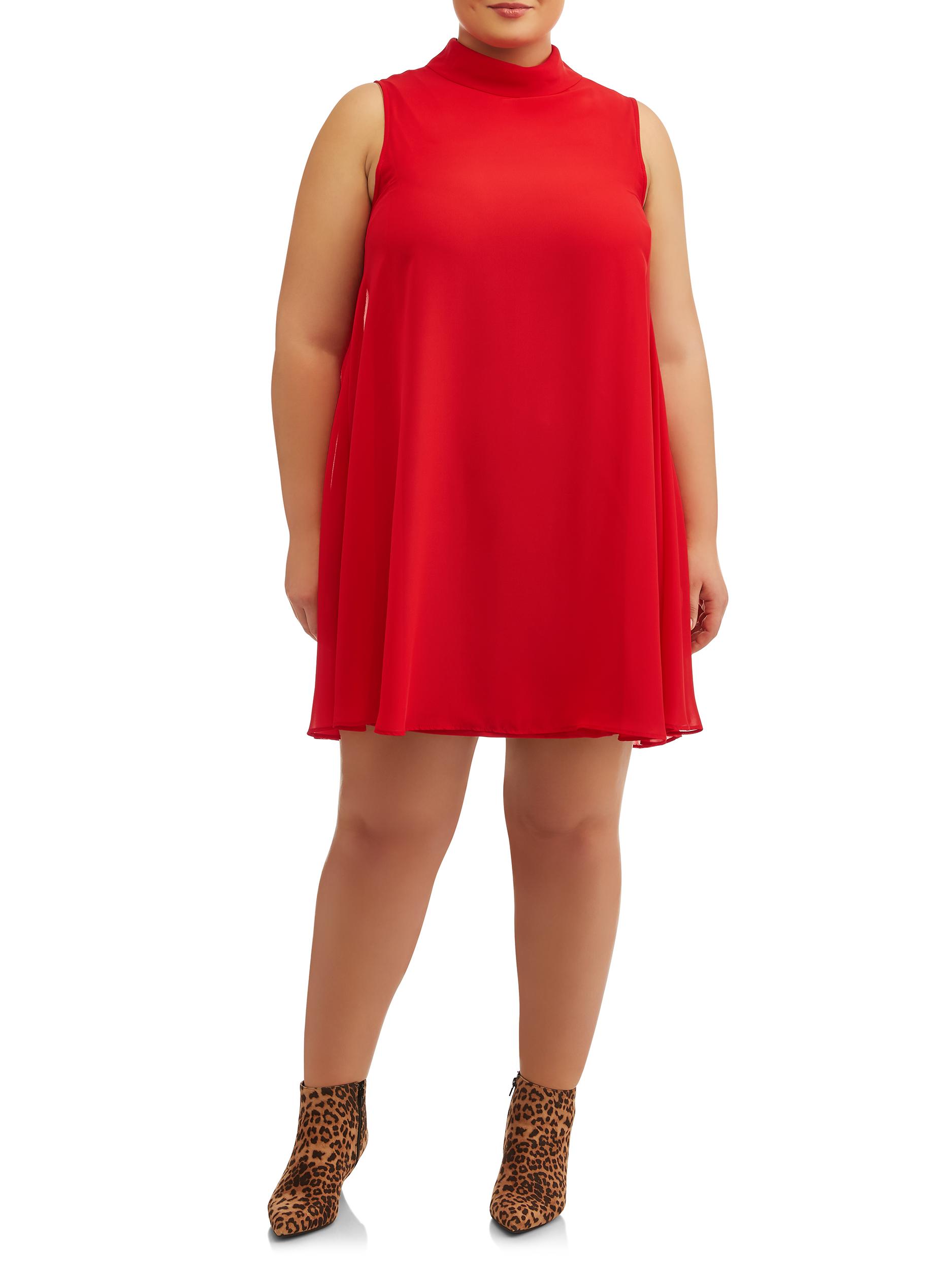Women's Plus Size Sleeveless Chiffon Shift Dress