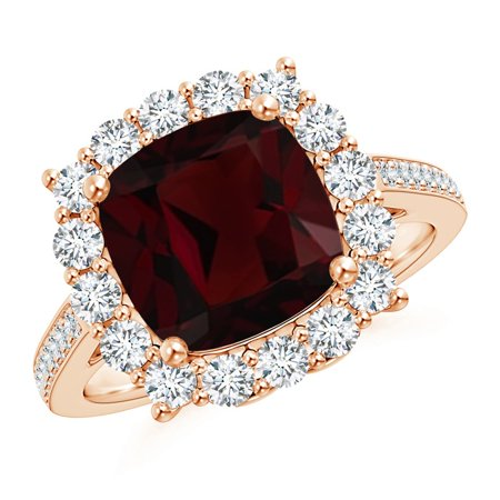 Valentine Jewelry Gift - Cushion Garnet Cocktail Ring with Diamond Halo in 14K Rose Gold (9mm Garnet) - SR1078GD-RG-A-9-10