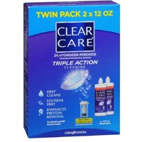 Clear Care Triple Action Cleaning 3% Hydrogen Peroxide Cleaning & Disinfecting Solution, Twin Pack (Pack of 2)