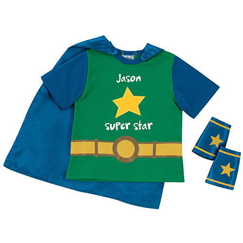 Sandra Magsamen Personalized Toddler Boy Super Star T-Shirt and Cape Combo, Green