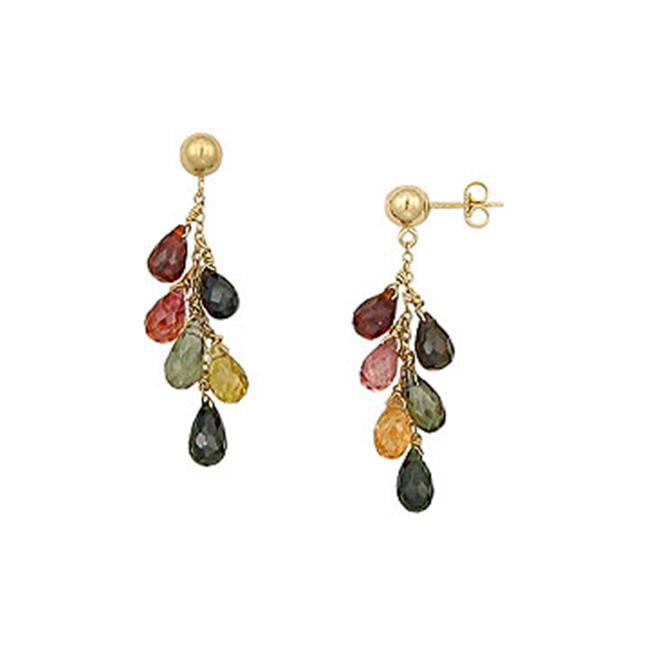 FineJewelryVault UBAER152-101 Multicolor Gemstone Drop Earrings : 14K Yellow Gold - 6. 00 CT TGW