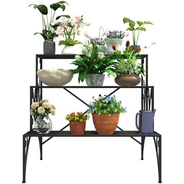 Mecor 3 Tier Metal Plant Stand Large Capacity Indoor Outdoor Flower Pot Holder Stand For Potted Plant Decorative Plant Rack For Home Garden Patio Balcony Yard Black Walmart Com Walmart Com