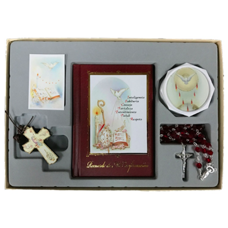 Neutral Confirmation Gift Set - Rosary Prayer Book Keepsake (Confirmation Gifts)