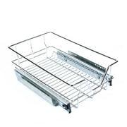 Walfront Roll Out Cabinet Basket Organizer Under Sink Cabinet Sliding Basket Organizer Drawer Expandable Shelf, 50 x 30 x 15cm