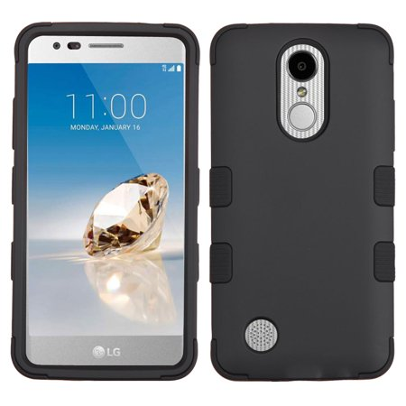 Kaleidio Case For LG Rebel 3 LTE L157BL (TracFone / Straight Talk) [TUFF Armor] Hybrid Shell 3-Piece Rubber Cover w/ Overbrawn Prying Tool [Black/Black]