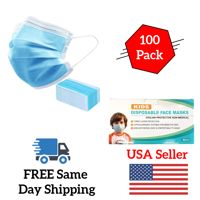 Face Masks 100 PCS Children Disposable 3 Ply Cotton Fabric Breathable w/ Elastic Ear Loop