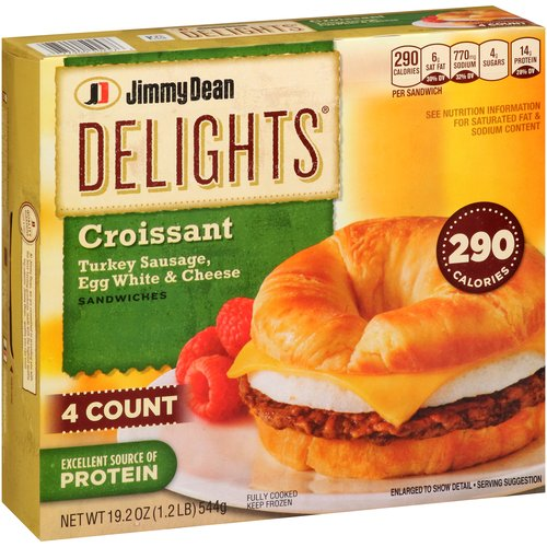 Jimmy Dean Delights Turkey Sausage Reduced Fat Croissant Breakfast Sandwich, 4ct