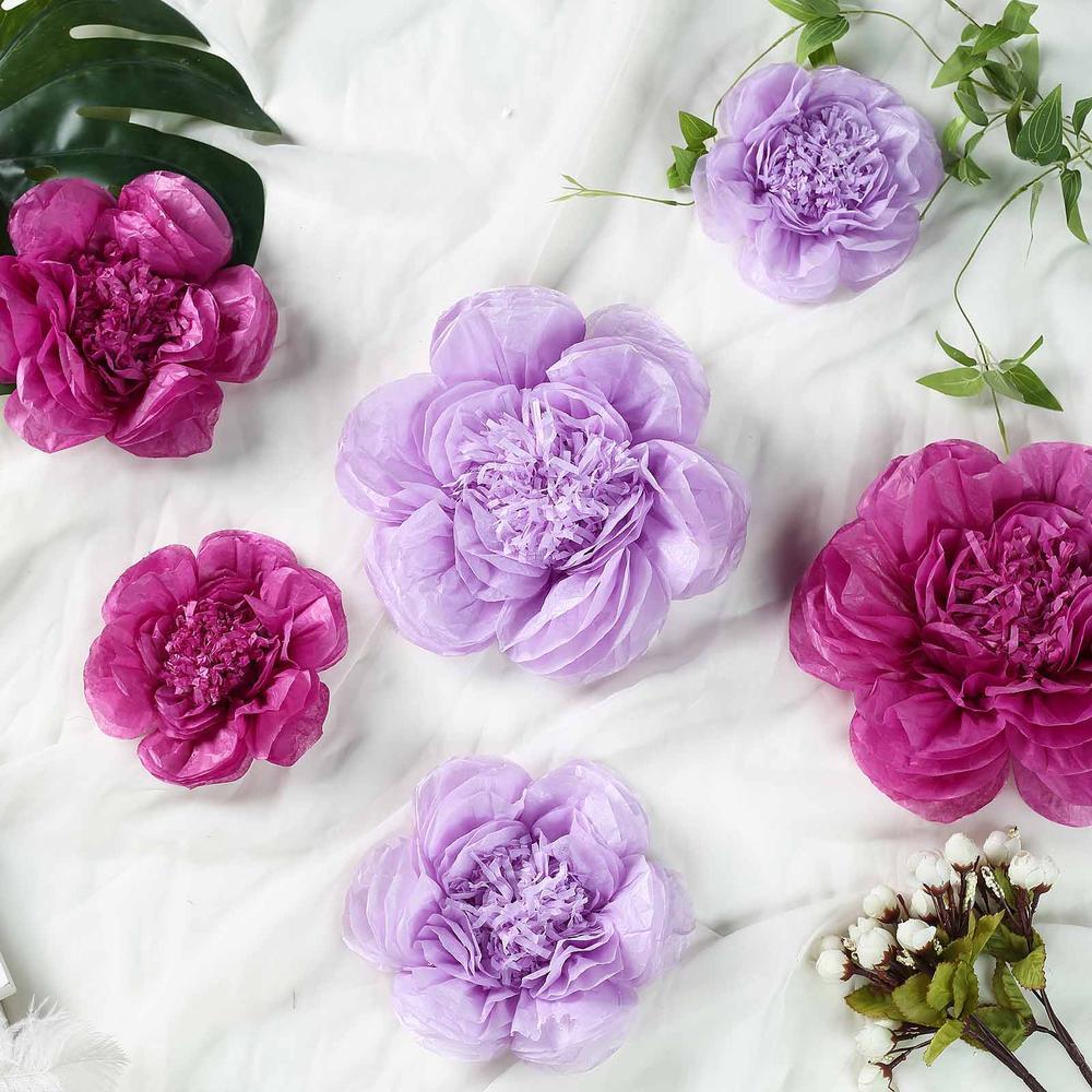 "Efavormart 6 Pack Assorted Size Giant Paper Peony Flowers Decor for Centerpieces Arrangement Party  - 7"" | 9"" | 11"""