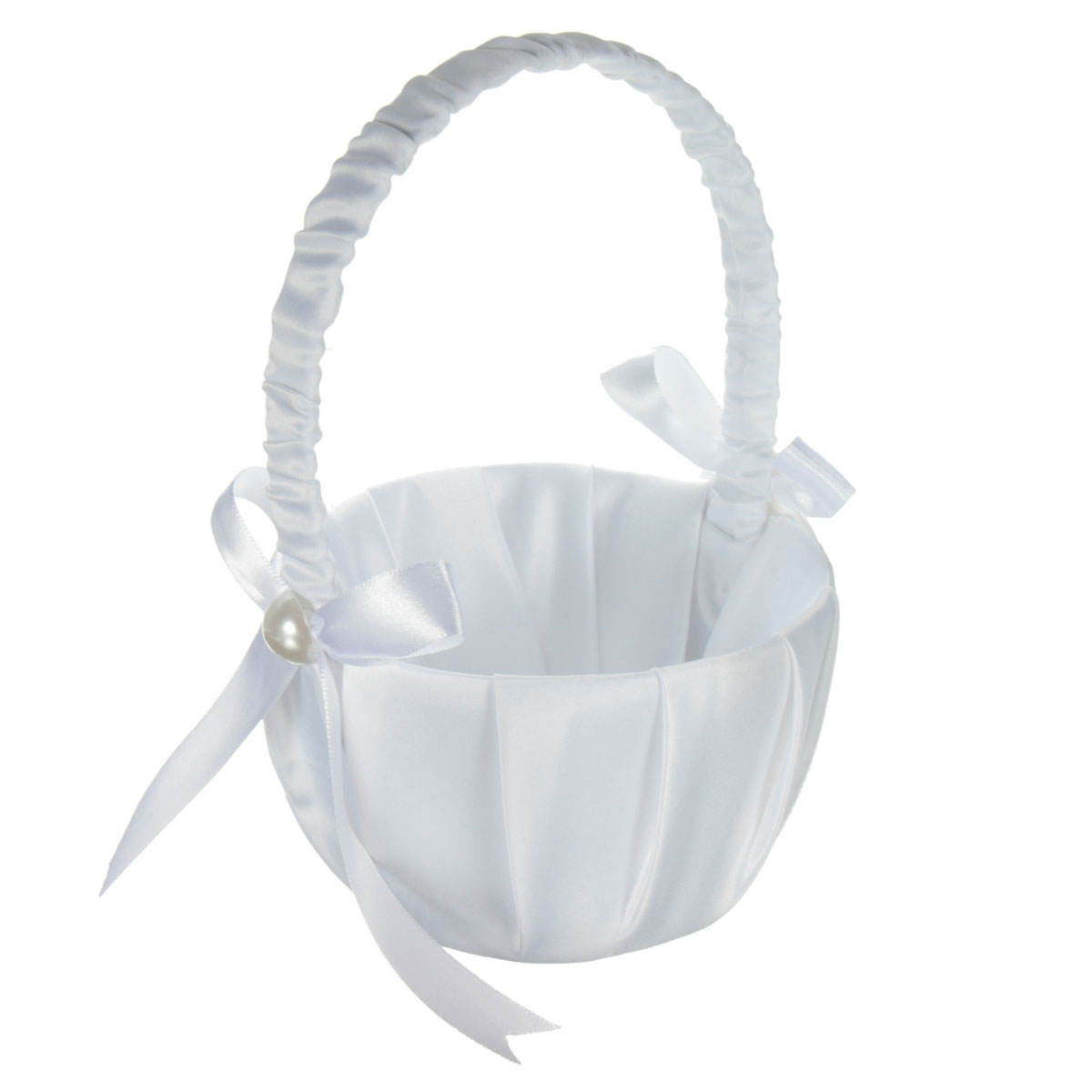 White Satin Beaded Flower Girl Basket Bowknot Decor For Wedding