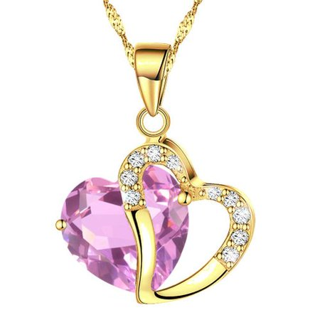 Fashion Austrian Gold Plated Pink Crystal Heart Shape Pendant Necklace, 18 Chain