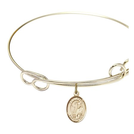 7 1/2 inch Round Double Loop Bangle Bracelet w/ St. Elmo charm Gold-Filled Medal ()