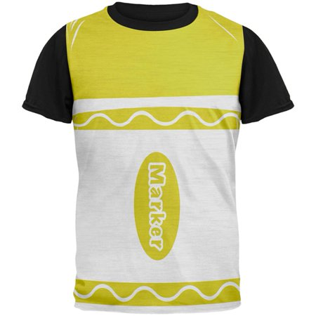 Halloween Marker Costume Yellow All Over Mens Black Back T Shirt](Yellow Halloween Pr 2017)