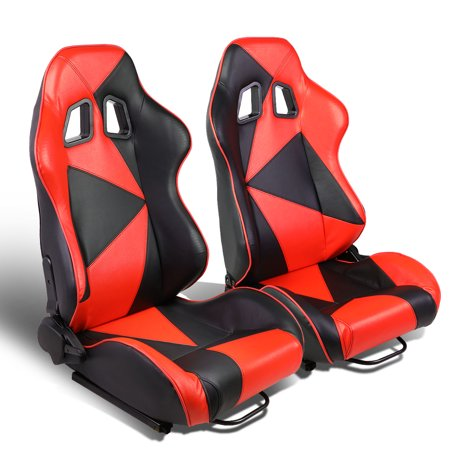 Set of 2 Triangle Pattern Type-R PVC Leather Reclinable Racing Seat w/ Universal Sliders (Black/Red)