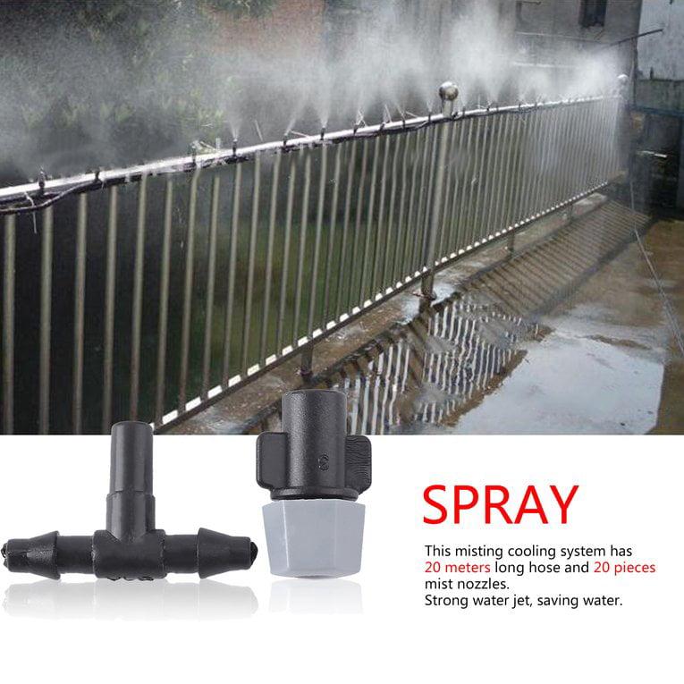 Black Water Misting Cooling System 20Pcs Mist Sprinkler Nozzles 20 Meter Hose by
