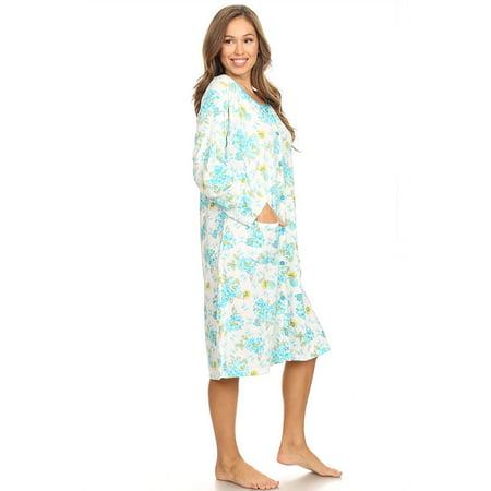 7ca1c2815b Lati Fashion - 6007 Womens Nightgown Sleepwear Pajamas Woman Long Sleeve  Sleep Dress Nightshirt Green XL - Walmart.com