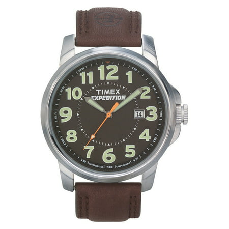Men's Expedition Metal Field Watch, Brown Leather Strap Brown Expedition Watch Band