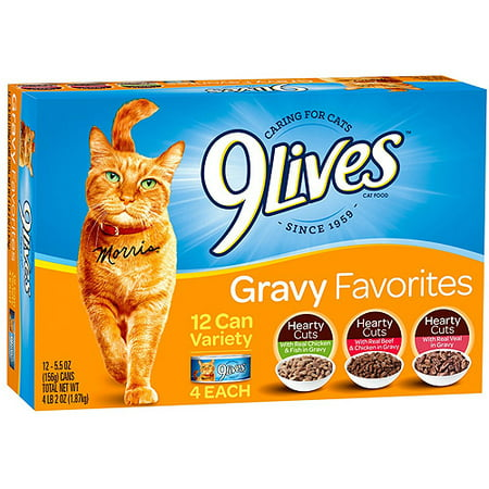 9 Lives Gravy Favorites Wet Cat Food Variety Pack, 5.5 oz Cans, 12 ct