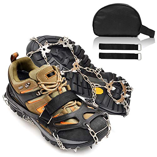 Jogging or Walking on Snow and Ice Ice Cleats Snow traction cleats 24 Teeth Crampons, Anti-slip Snow Shoes Ice Boots Grippers for Men Women Hiking